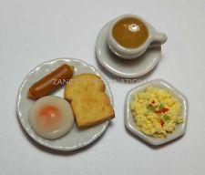 Dollhouse Miniature Breakfast Set *Toast Egg Coffee Cup Sausage Plate Mini Food