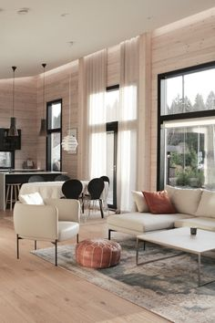 #loghomedecorating #hirsitalo #skandinavianhome Modern Log Cabins, Nordic Interior Design, Light Colored Wood, Home Trends, Scandinavian Home, Log Homes, Interior And Exterior, Living Room Decor, Furniture