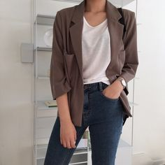 Cute Casual Outfits, Simple Outfits, Ulzzang Fashion, Korean Fashion, Look Fashion, Fashion Outfits, Mode Chic, Blazer Outfits, Professional Outfits