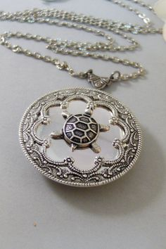 Garrett's Turtle LocketSilver Turtle by ValleyGirlDesigns on Etsy