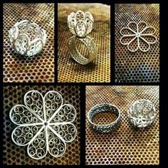 Instagram photo by silverfiligree - The making of #silverfiligree #filigrana #filigee #telkari #silver #филигрань #филигран #onthebench #onmybench #jewelersbench #jewelrybench #minarbeidsbenk #Skopje #Macedonia #filigreering #ring