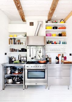 kitchen with visible cooker hood tube - white - bright colours