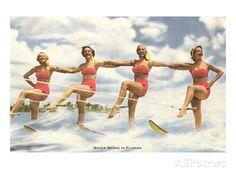 Water Skiing by Florida Aqua Maids Old Florida, Vintage Florida, Florida Vacation, Vacation Places, South Florida, Vacations, Cypress Gardens Florida, Girls Weekend, Bathing Beauties