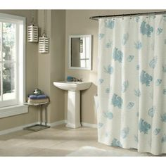 Seaside Script Shower Curtain - BedBathandBeyond.com