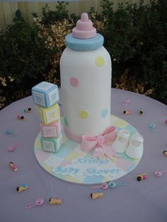 Baby bottle, blocks and booties