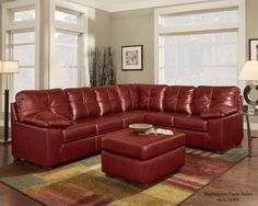 lshape cardinal red leather 2pc sectional