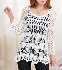Handmade Crochet Tunics Women Jumper Ruffle Tops Raglan Sleeve - Click Image to Close