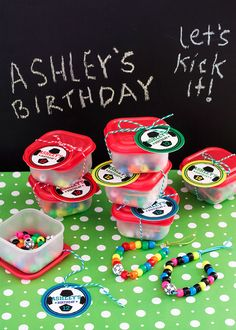 DIY Soccer Party Favor Bracelets with personalized Soccer tags!