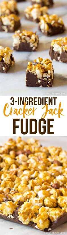 3-Ingredient Cracker Jack Fudge Recipe - A fabulous holiday treat that is quick to make for parties and edible gifts! Rich chocolate + caramel corn. What's not to love? via @spicyperspectiv