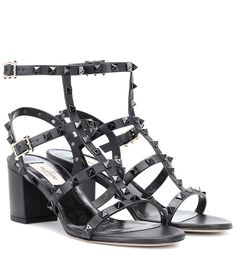 We're infatuated with the iconic Rockstud sandals from Valentino Garavani – a versatile tough-luxe heel that's become a staple for influencers and editors everywhere. Crafted in Italy from smooth black calf leather, they're . Valentino Dress, Valentino Rockstud, Suede Sandals, Gladiator Sandals, Shoes Sandals, Calf Leather, Leather Shoulder Bag, Summer Essentials, Metallic Leather