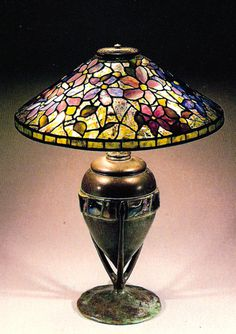 CLEMATIS TABLE LAMP TIFFANY 1900-1910 POSTCARD  Clematis Table Lamp Loaded Favrile glass Tiffany Studios, New York.