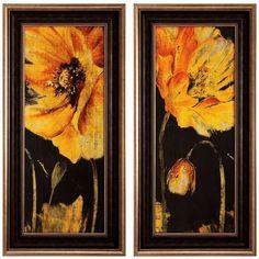 "Poppy Garden Panel 36"" High 2-Piece Wall Art Set ($280) ❤ liked on Polyvore featuring home, home decor, wall art, art, framed glass panels, twin pack, garden wall art, garden panels and glass home decor"