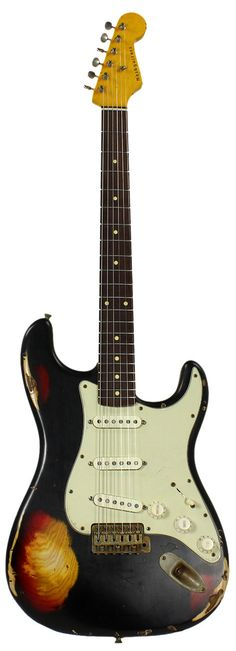 Nash S-63 Guitar, Black over 3 Tone Sunburst