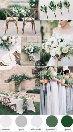 A green wedding - Romantic,ethereal & absolutely timeless. Shades of green colour will complement your spring / summer theme and will definitely look great wedding colors schemes green Green Wedding Colour Schemes { Grey + Platinum + White Smoke } Summer Wedding Colors, Neutral Wedding Colors, Green Spring Wedding, Summer Flowers, Summer Weddings, Wedding Ideas Green, Spring Wedding Themes, Weeding Themes, February Wedding Colors