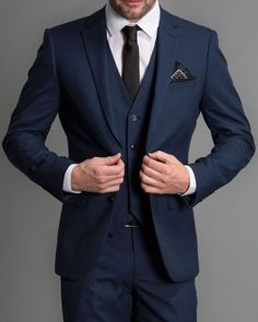 Navy blue formal wedding men suits 2019 new three piece notched lapel custom made business groom wedding tuxedos jacket + pants + vest slim fit two tone light blue suit blazer Dark Blue Suit, Blue Suit Men, Blue Suits, Dark Blue Wedding Suit, Mens Dark Navy Suit, All Navy Suit, Black Tux, Tuxedo Wedding, Wedding Men