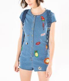 macaquinho jeans patch