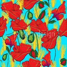 Mohnwiese - Rote Mohnblumen und gelbes Gras oder Getreide auf blauem Hintergrund. Dieses Muster kannst du online kaufen!