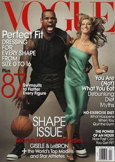 Gisele Bundchen nabs her second his and her cover with Lebron James for Vogue's April 2008 issue.