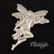 Vintage pewter art deco style fairy brooch