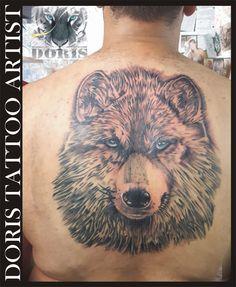 Big wolf back tattoo Doris tattoo artist
