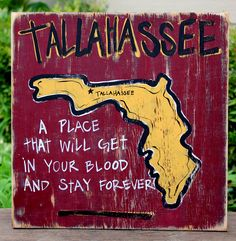 Tallahassee Hand Painted Sign... home is where the heart is!