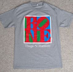 htf vtg BONE THUGS-N-HARMONY T-SHIRT Gray/Red/Green/Blue/White Alstyle MENS LRG #AlstyleApparel #GraphicTee