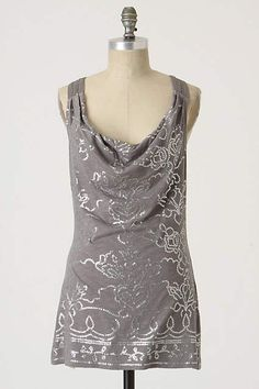 New! ANTHROPOLOGIE C Keer Gray Silver Sequined Cowl Neck Tank Top M 8 10 #CKeer #tank #casual