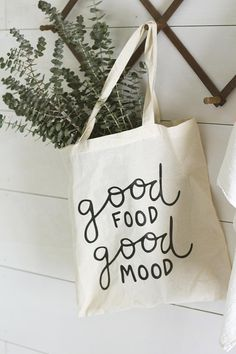 Farmers Market Tote, Good Food, Foodie Gift, Gift for Her, Reusable Grocery Bag, Reusable Produce Ba