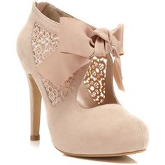 Miss Selfridge Sally Nude Town Shoe (£46) ❤ liked on Polyvore featuring shoes, boots, ankle booties, heels, sapatos, chaussures, nude, nude heel booties, lace heel boots and lacy boots