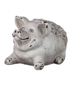 Take a look at this White Cement Pig by Urban Trends Collection on #zulily today!