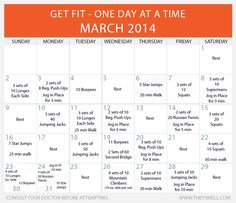Get Fit in 2014 – Daily Beginner Workout Plan for March