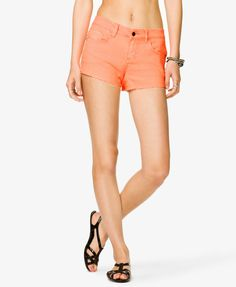 Forever 21 Spiked Denim Shorts in Neon Coral $13.00