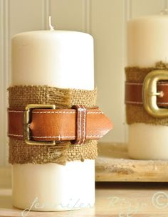 "Wrap burlap around candle base and glue ends together. Measure belt so it had about 2 inches of hang over on the end and can actually ""buckle"" it. Then use scissors to cut it down. ( battery operated candle)"