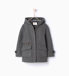 Fabric three quarter length coat with hood-View all-Coats-Girl-Kids | 4-14 years-KIDS | ZARA United States