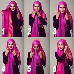 Colorful hijab tutorial, step by step