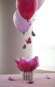 Butterfly Birthday Party Decorations - Purple, Hot Pink Personalized Butterfly Balloon Centerpieces. $16.95, via Etsy. by britney