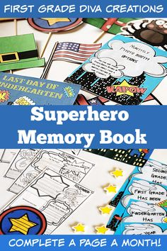 Kindergarten, grade, and grade students will love creating these keepsake memory books. By completing one, low-prep page a month, students finish an adorable memory book by the end of the school year! Parents are going to love you! Superhero Photo Booth, Superhero Books, Superhero Classroom Theme, Classroom Themes, Super Hero Activities, Phonics Activities, Kindergarten Learning, Fun Learning, Preschool