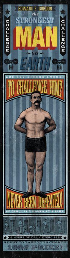 STRONGEST MAN printed on blueback paper