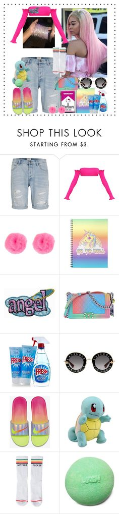 """#."" by xmelaninprincessbarbiex ❤ liked on Polyvore featuring Topman, Nanda Home, Hello Kitty, New Look, Chanel, Moschino, Gucci, NIKE and Mother"