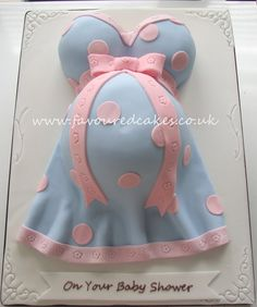 Baby Bump Cake. Love this for Wyatt's shower only green polka dots instead of pink