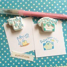 大好きな消しゴムはんことそれにまつわるあれこれを。 Washi Tape Crafts, Diy Crafts, Eraser Stamp, Handmade Stamps, Stamp Printing, Baby Blocks, Rubber Stamping, Cute Drawings, Handicraft