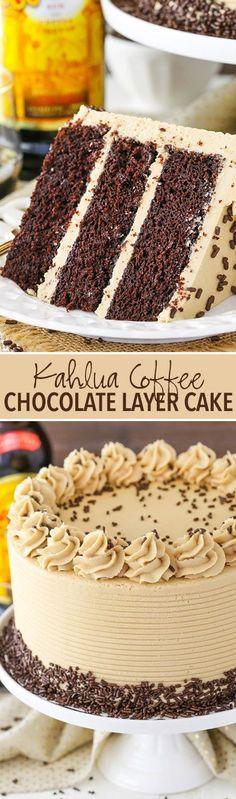 Kahlua Coffee Chocolate Layer Cake - moist, soft chocolate cake with Kahlua coffee frosting! So good! #yummycakes