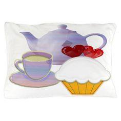 Tea time cupcake art Pillow Case on CafePress.com