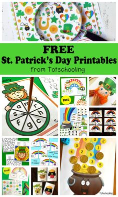 FREE St. Patrick's Day printables for toddlers, preschool and kindergarten kids. Large collection of activities including alphabet, letter tracing, counting, sight words, tracing, coloring, playdough mats,do-a-dots, puzzles, games and more!