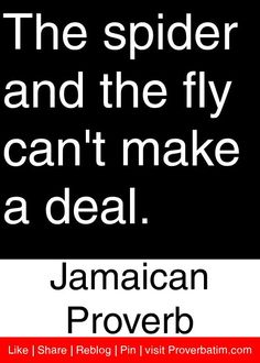 The spider and the fly can't make a deal. - Jamaican Proverb #proverbs #quotes