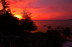 Amazing sunset at the Beachfront Condo in Phuket, Thailand
