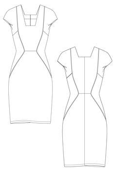 Moda dress - Multi paneled shift dress. flat drawing by Ralph Pink