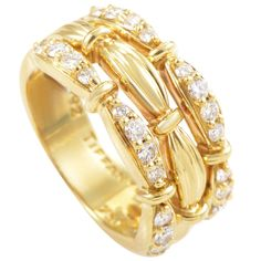 View this item and discover similar for sale at - A gorgeous design from Tiffany & Co. This band ring is made of yellow gold and is set with a gorgeous array of carats of Gold Diamond Band, Gold Band Ring, Gold Bands, Band Rings, Diamond Jewelry, Gold Jewelry, Jewelery, Jewelry Rings, Cushion Cut Engagement