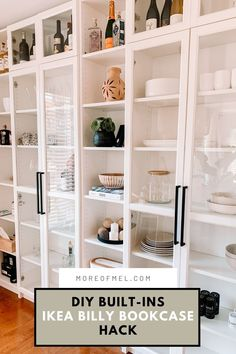 Ikea Billy Bookcase White, Bookcase Wall, Bookcase Storage, Built In Bookcase, Billy Bookcases, Tv Storage, Record Storage, Billy Bookcase Office, Billy Regal Hack