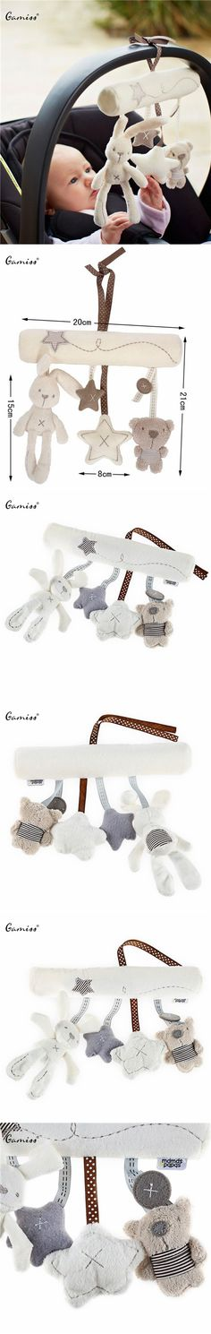 Hot Sales Musical Soft Plush Rabbit And Bear Baby Rattle Hanging Toy Stroller Star Hanging Rattle Mobile Products Cute Baby Toys